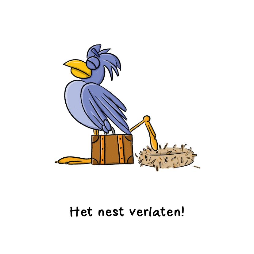 Felicitatiekaarten - Felicitatie nieuwe woning het nest verlaten kaart