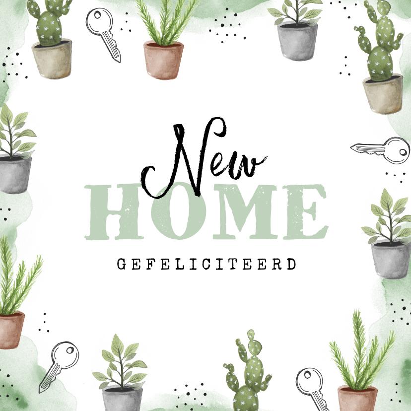 Felicitatiekaarten - Felicitatie nieuwe woning planten sleutels waterverf groen