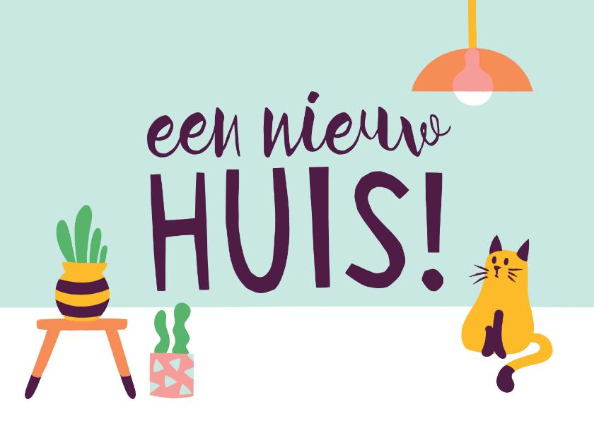 Felicitatiekaarten - Felicitatie nieuwe woning trendy cactus kat poes