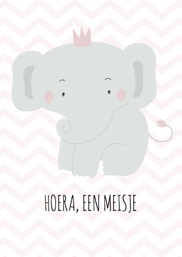 Felicitatiekaarten - Felicitatie olifantje meisje