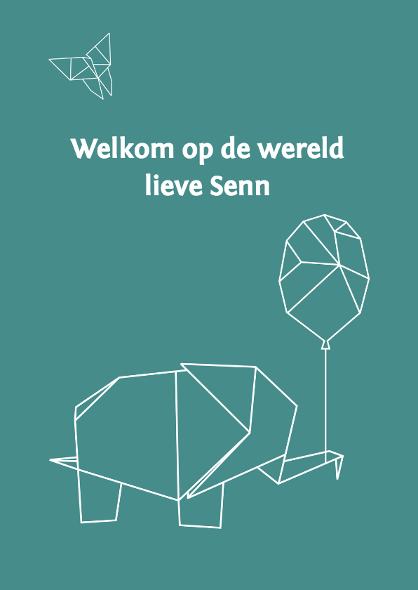 Felicitatiekaarten - Felicitatie origami olifant