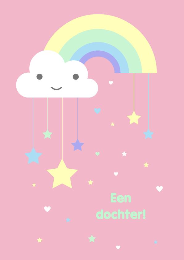 Felicitatiekaarten - Felicitatie - Pastel regenboog sterren meisje
