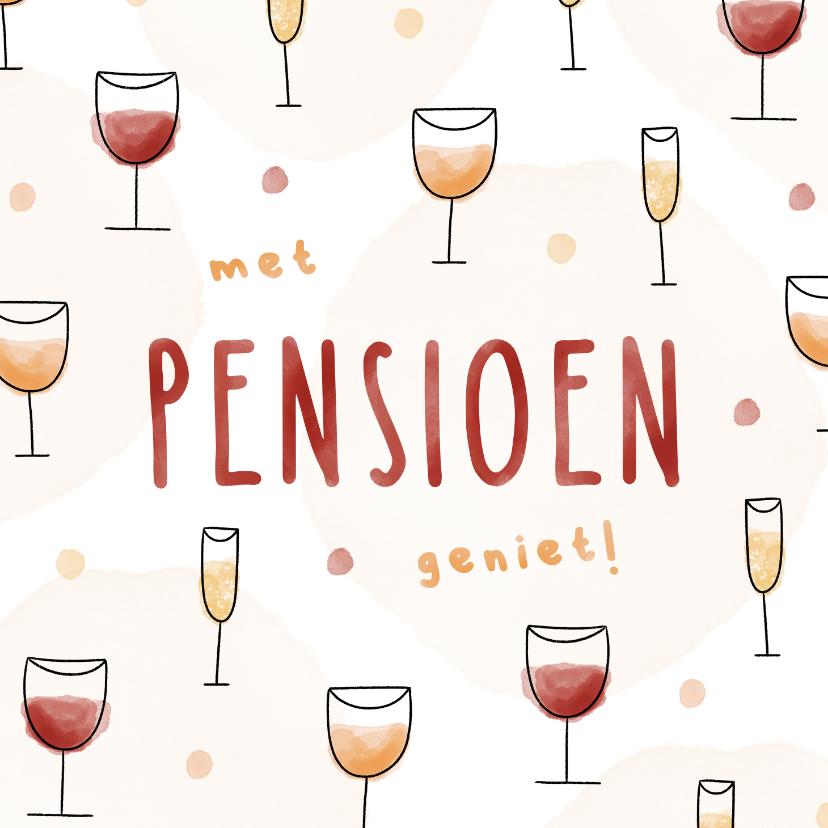 Felicitatiekaarten - Felicitatie pensioen met patroon van wijn en champagne