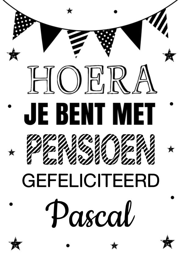 Felicitatiekaarten - Felicitatie pensioen typografie slinger zwart-wit