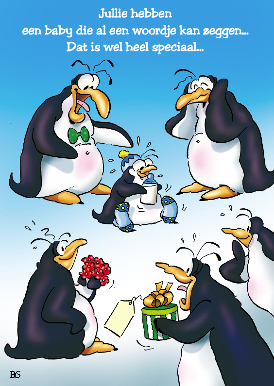 Felicitatiekaarten - Felicitatie pinguins geboorte zoon 1 met baby