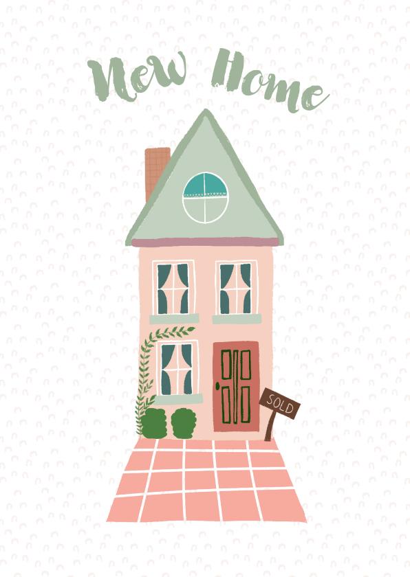 Felicitatiekaarten - Felicitatie roze huis met groen dak