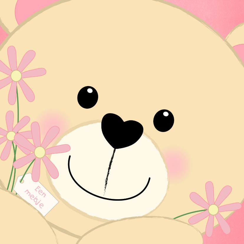 Felicitatiekaarten - Felicitatie schattig kaartje met een lief beertje en bloemen