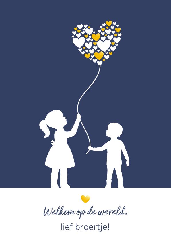 Felicitatiekaarten - Felicitatie - Silhouet broertje met zus en ballon