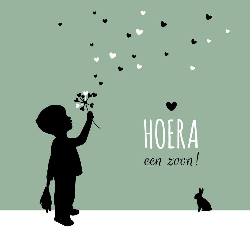 Felicitatiekaarten - Felicitatie - Silhouet jongen met bloem