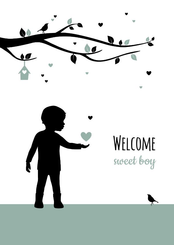 Felicitatiekaarten - Felicitatie - Silhouet jongetje met boom en hartjes