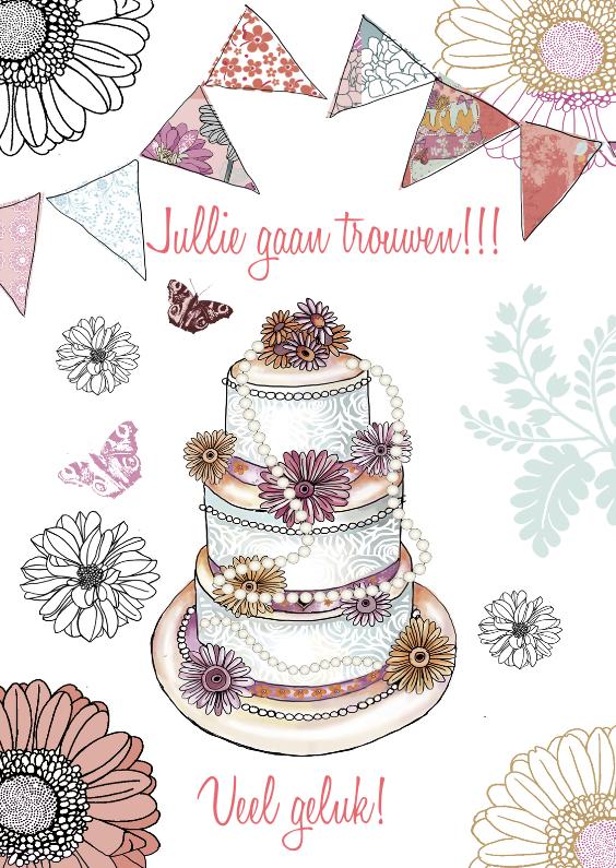 Felicitatiekaarten - felicitatie taart huwelijk vlag