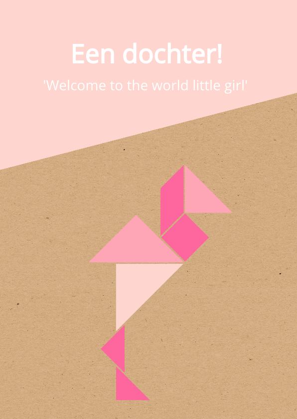 Felicitatiekaarten - Felicitatie - Tangram flamingo voor een meisje