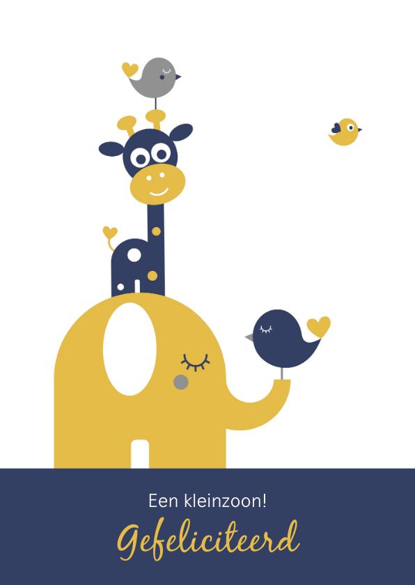 Felicitatiekaarten - Felicitatie - Torentje met olifant en giraf