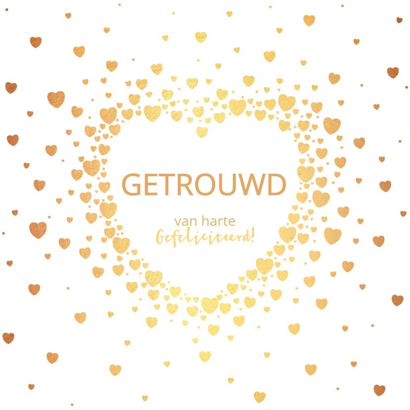 Felicitatiekaarten - Felicitatie trouwdag moderne kaart met goudkleurige hartjes