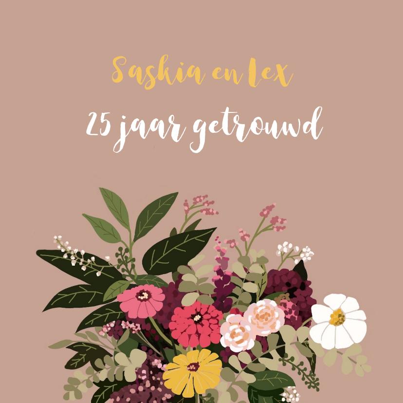 Felicitatiekaarten - Felicitatie trouwjubileum Fleurig Boeket