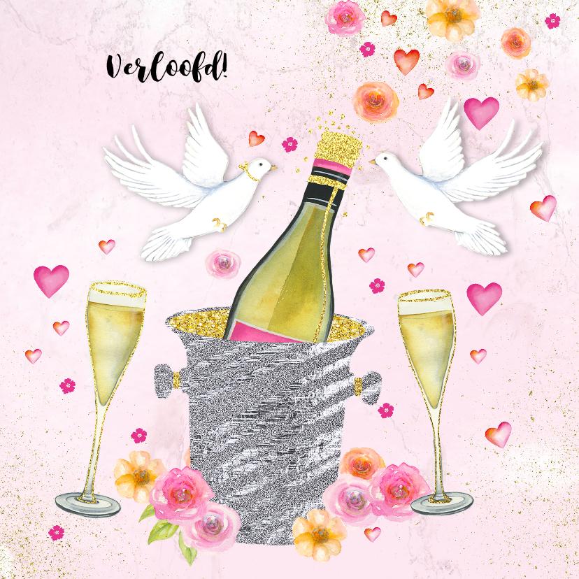 Felicitatiekaarten - Felicitatie trouwkaart champagne