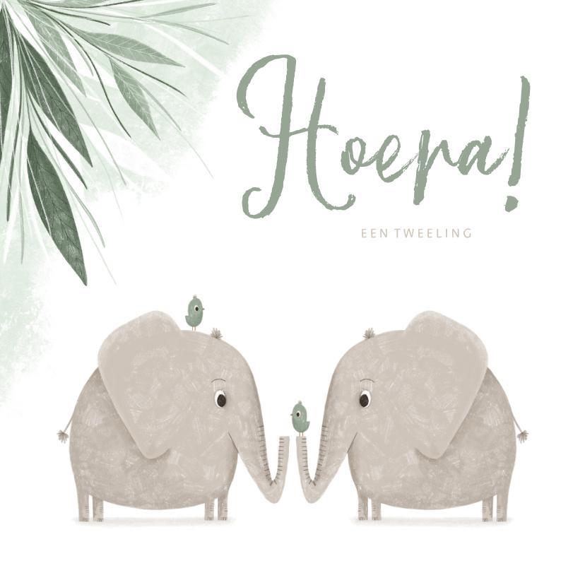 Felicitatiekaarten - Felicitatie tweeling groen jungle olifantjes met vogels