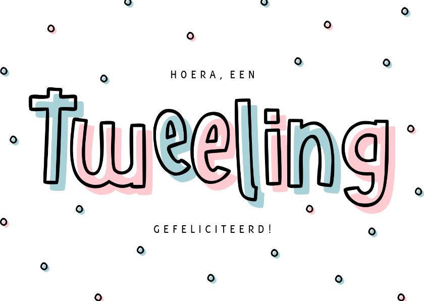 Felicitatiekaarten - Felicitatie tweeling hip met confetti