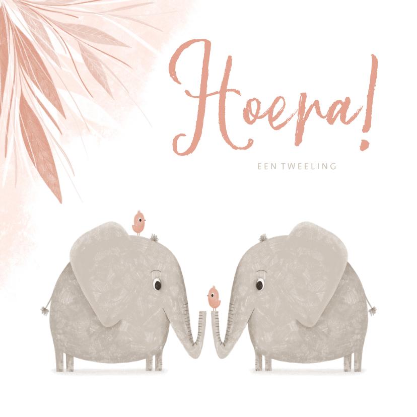 Felicitatiekaarten - Felicitatie tweeling roze jungle olifanten met vogels