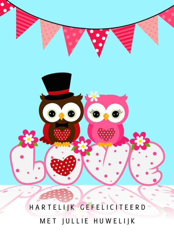 Felicitatiekaarten - Felicitatie uilen 'in love'