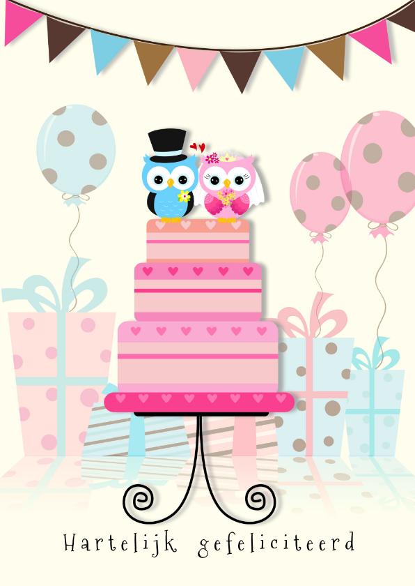 Felicitatiekaarten - Felicitatie uilen op taart