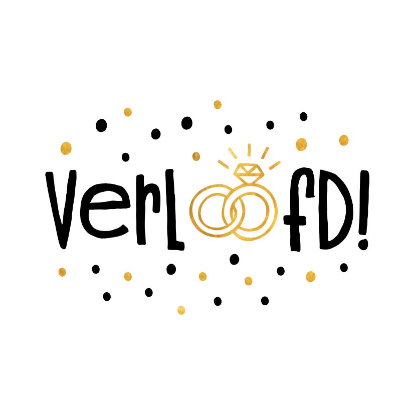 Felicitatiekaarten - Felicitatie verloofd gouden ringen en confetti