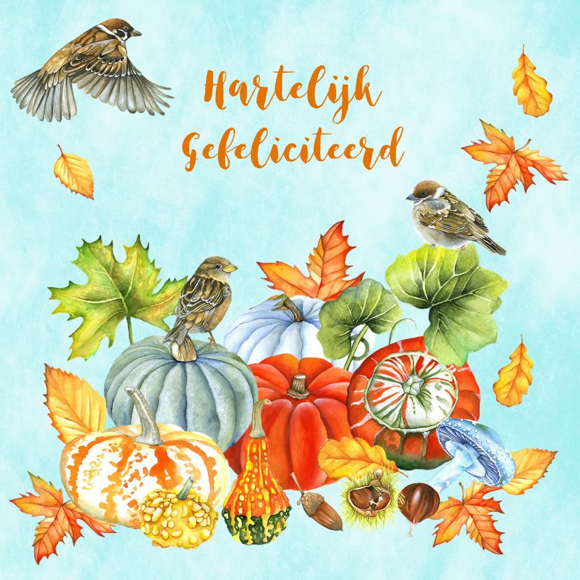 Felicitatiekaarten - Felicitatie vogeltjes herfst