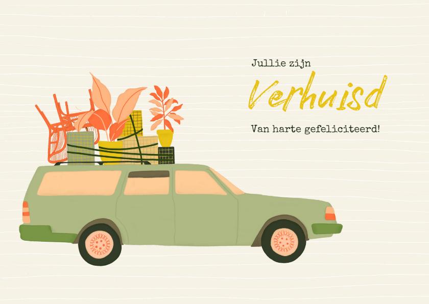 Felicitatiekaarten - Felicitatie voor nieuwe woning - met volgeladen auto
