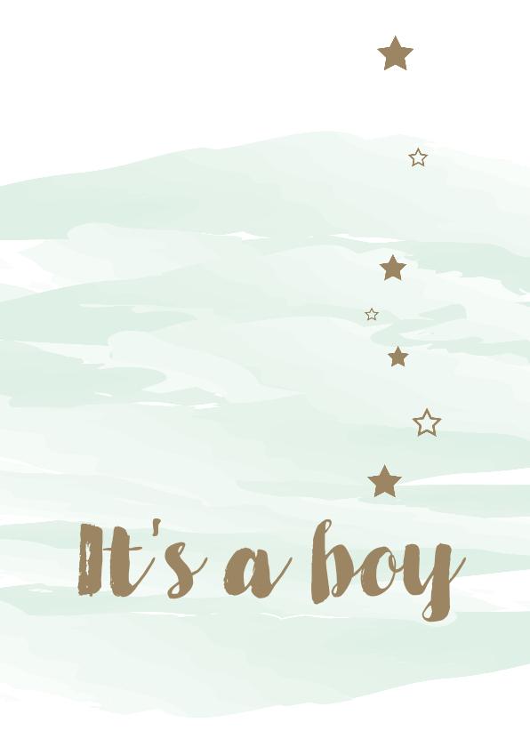 Felicitatiekaarten - Felicitatie watercolour met sterren
