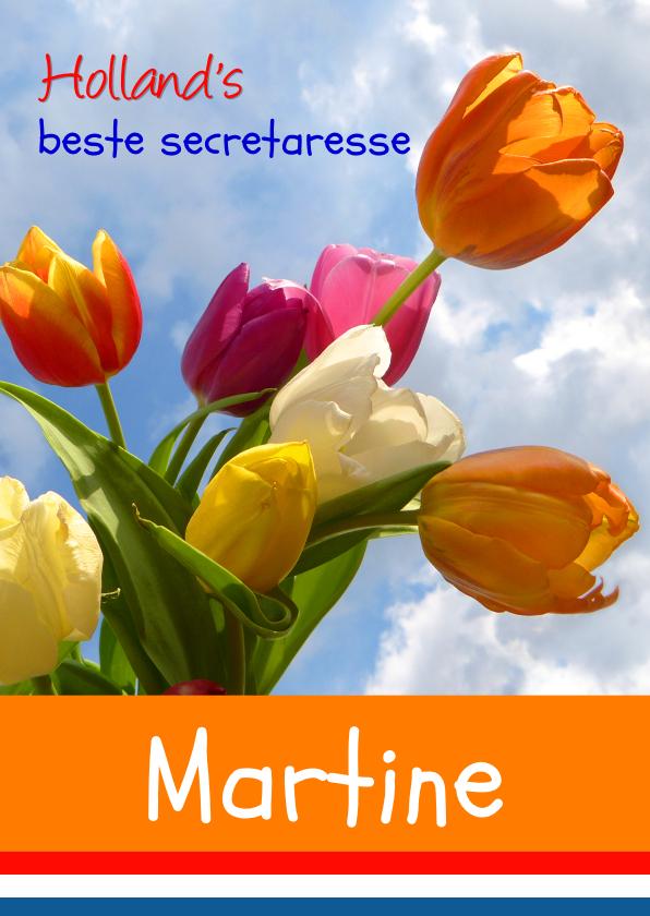 Felicitatiekaarten - Felicitatie Wenskaart Zeg het met tulpen