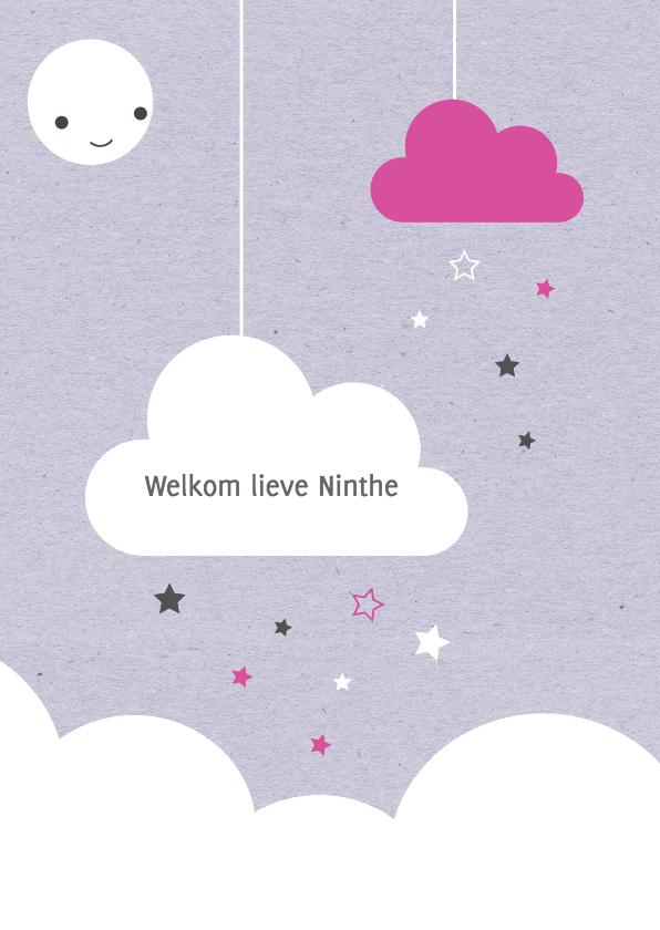 Felicitatiekaarten - Felicitatie-Wolken, sterren,maan