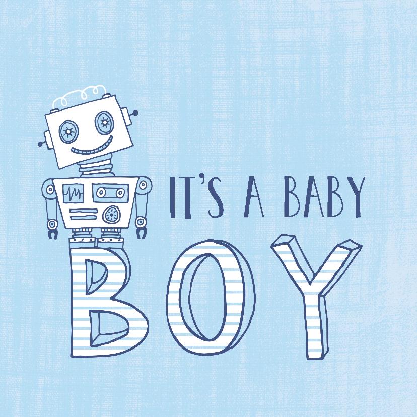 Felicitatiekaarten -  Felicitatie zoon silhouet robot blauw 1 - MW