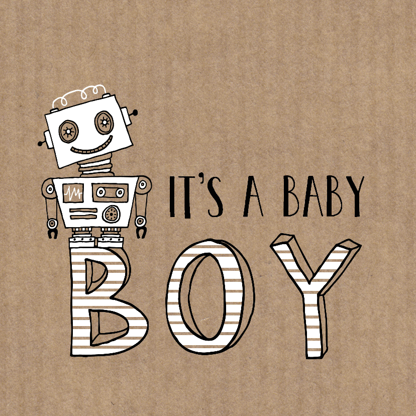Felicitatiekaarten -  Felicitatie zoon silhouet robot Kraft - MW