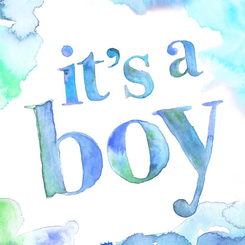 Felicitatiekaarten - Felicitatie zoon waterverf
