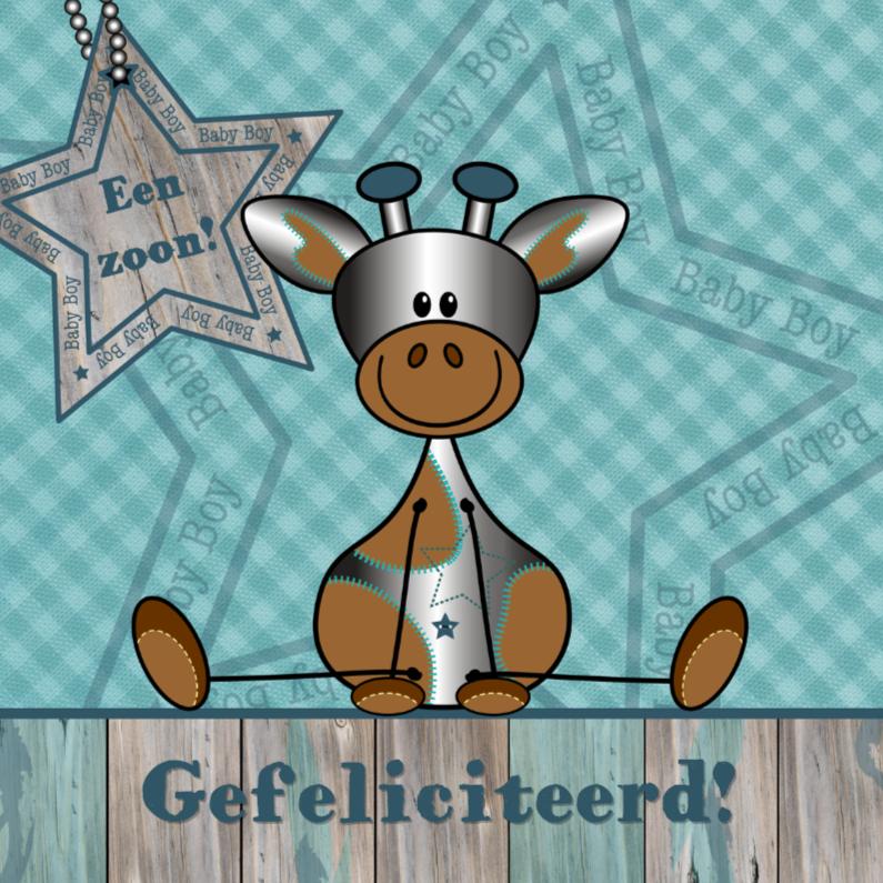 Felicitatiekaarten - Felicitatie zoon zilver girafje