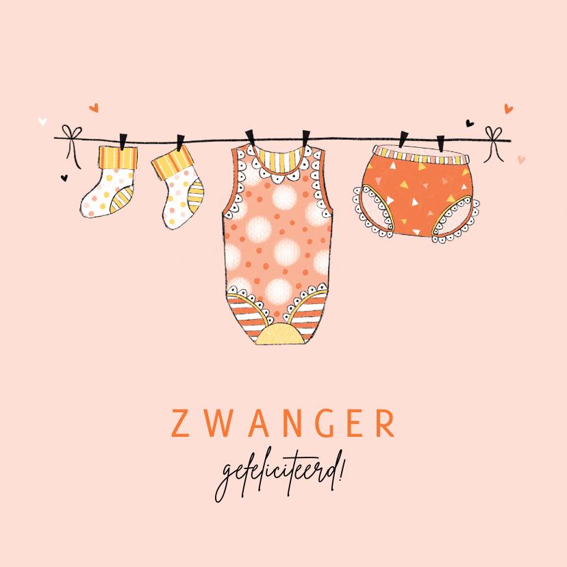 Felicitatiekaarten - Felicitatie zwanger waslijn oranje