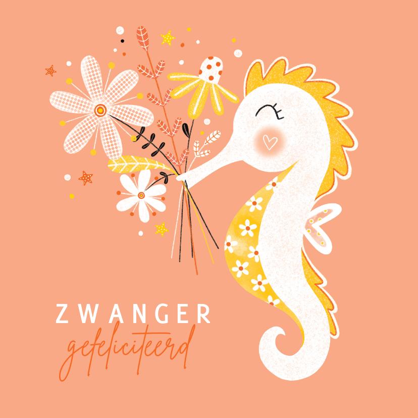 Felicitatiekaarten - Felicitatie zwanger zeepaardje bloemen peach