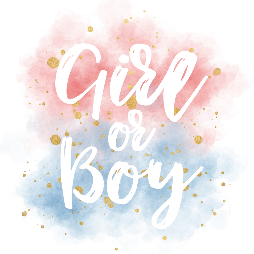 Felicitatiekaarten - Felicitatie zwangerschap boy or girl waterverf