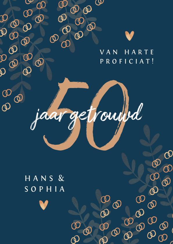 Felicitatiekaarten - Felicitatiekaart 50 jaar getrouwd goud ringen stijlvol