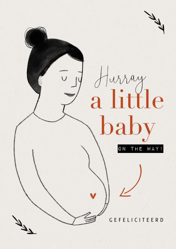 Felicitatiekaarten - Felicitatiekaart a little baby on the way tekening zwanger