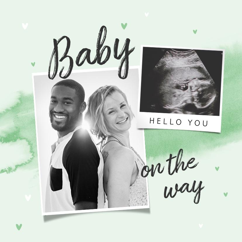 Felicitatiekaarten - Felicitatiekaart aankondiging zwangerschap waterverf echo