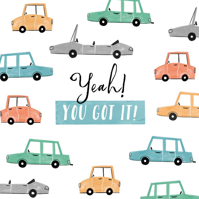 Felicitatiekaarten - Felicitatiekaart algemeen auto's feestelijk