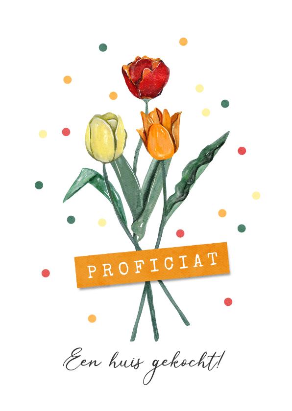 Felicitatiekaarten - Felicitatiekaart algemeen tulpen confetti bloemen proficiat