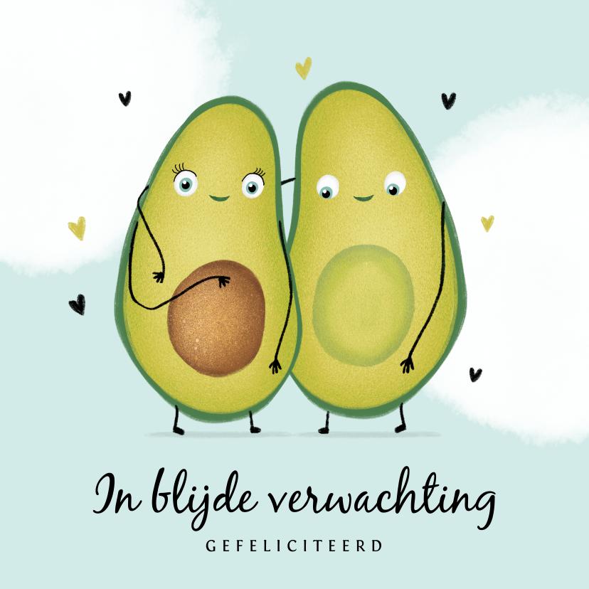 Felicitatiekaarten - felicitatiekaart avocado zwanger ouders hartjes