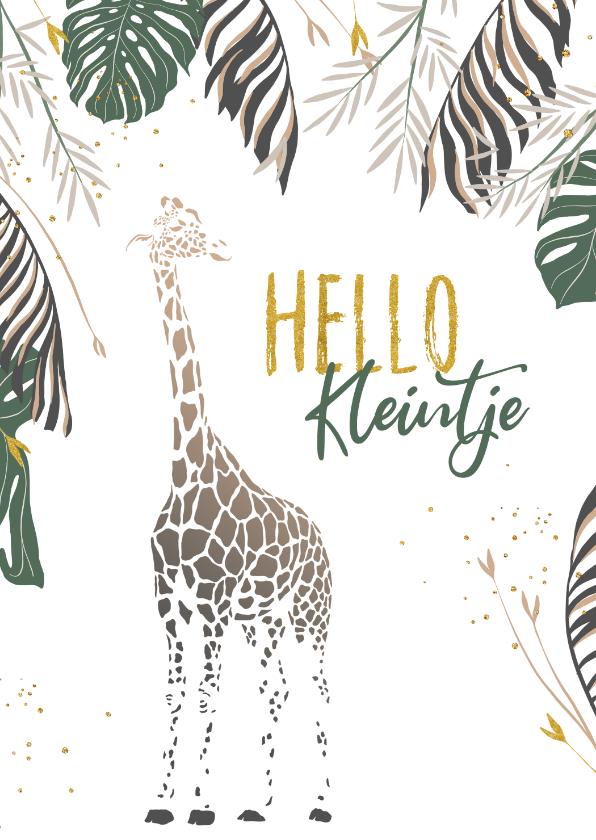 Felicitatiekaarten - Felicitatiekaart baby giraf met takjes