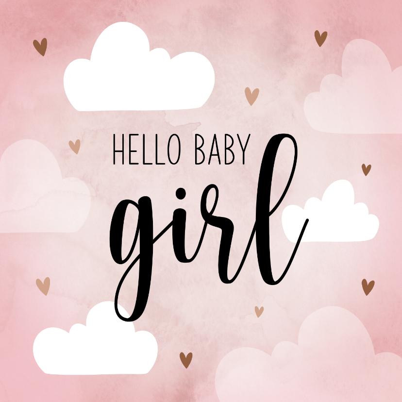 Felicitatiekaarten - Felicitatiekaart baby girl met hartjes