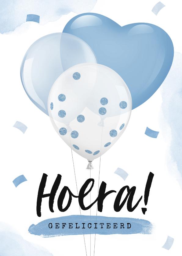 Felicitatiekaarten - Felicitatiekaart baby jongen zwanger ballonnen confetti