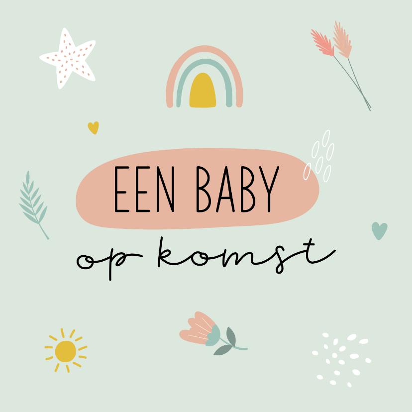 Felicitatiekaarten - Felicitatiekaart baby op komst met regenboog