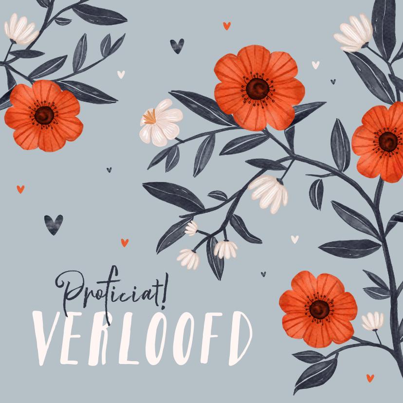 Felicitatiekaarten - Felicitatiekaart bloemen rood blauw verloofd huwelijk