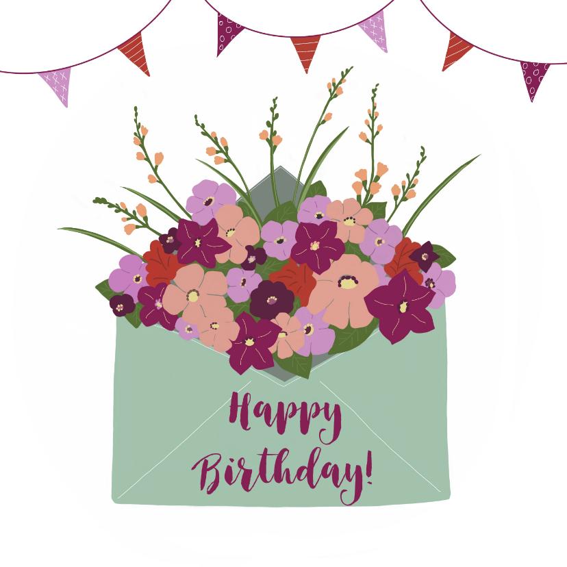 Felicitatiekaarten - Felicitatiekaart Bloemen uit envelop